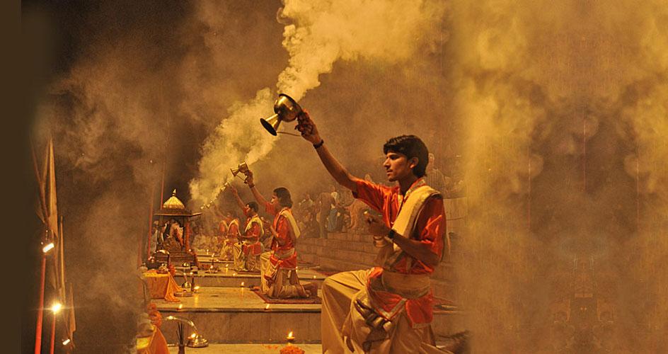 Evening Aarti Prayer at river ganges Varanasi