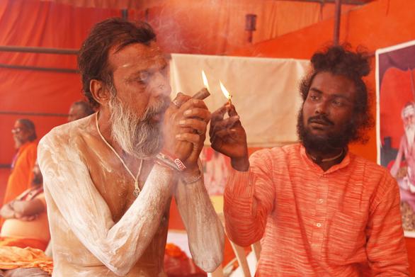Sadhu smoking in Rajim Kumbh